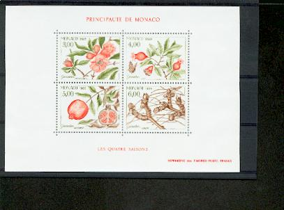 MONACO bloc feuillet BF 44 Flore Arbre Grenadier 1989 neuf ** TB MNH cote 12.5