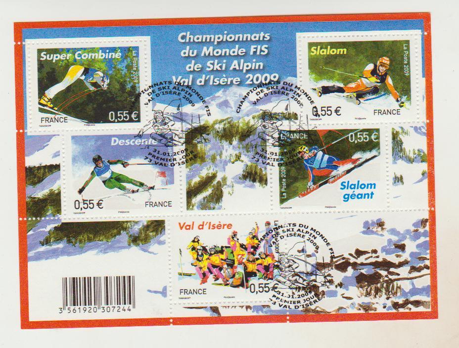 France    Bloc oblitéré Championnat du Monde Fis de Ski Alpin  2009