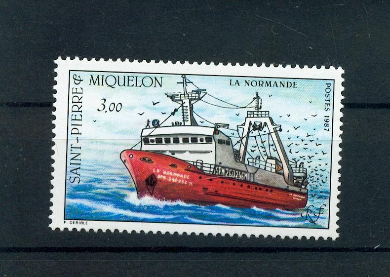 Saint Pierre et Miquelon 482 1987 bateau neuf luxe ** MNH sin charnela cote 3.6