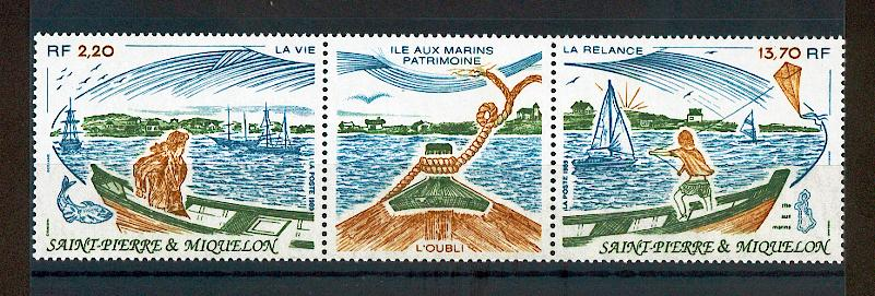 Saint Pierre et Miquelon 509 A 1989 village cotier bateaux neuf ** TB MNH sin charnela cote 10 e
