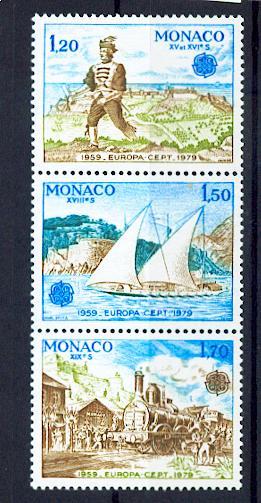 MONACO 1186a à 1188a europa 1979 de bf  se tenant neuf ** TB MNH SIN CHARNELA Cote 9.4 euros