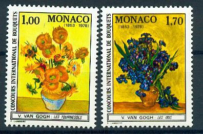 MONACO 1161 1162 1/4 de cote 1978 fleurs tableaux  neuf ** TB MNH SIN CHARNELA Cote 9.7 euros