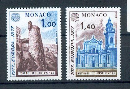 MONACO 1101 1102 1/4 de cote 1977 europa Monuments  neuf ** TB MNH SIN CHARNELA Cote 6.5 euros