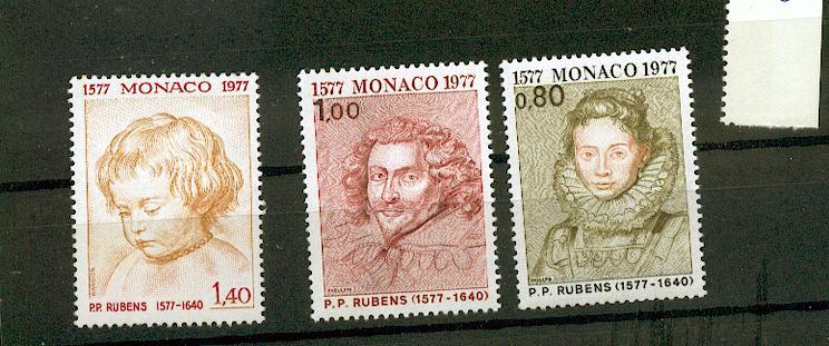 MONACO 1098 1100 1/4 de cote 1977 tableaux de rubens Portraits  neuf ** TB MNH SIN CHARNELA Cote 5.8