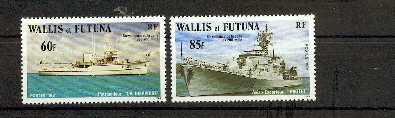 Wallis et Futuna 279 280 1981 bateaux neuf ** TB MNH sin charnela faciale 1.2
