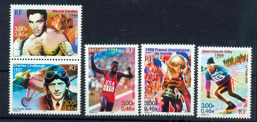 France 3312 3316 2000 le sport le siècle au fil du ti neufs ** TB MNH sin charn Prix de la poste 2.3