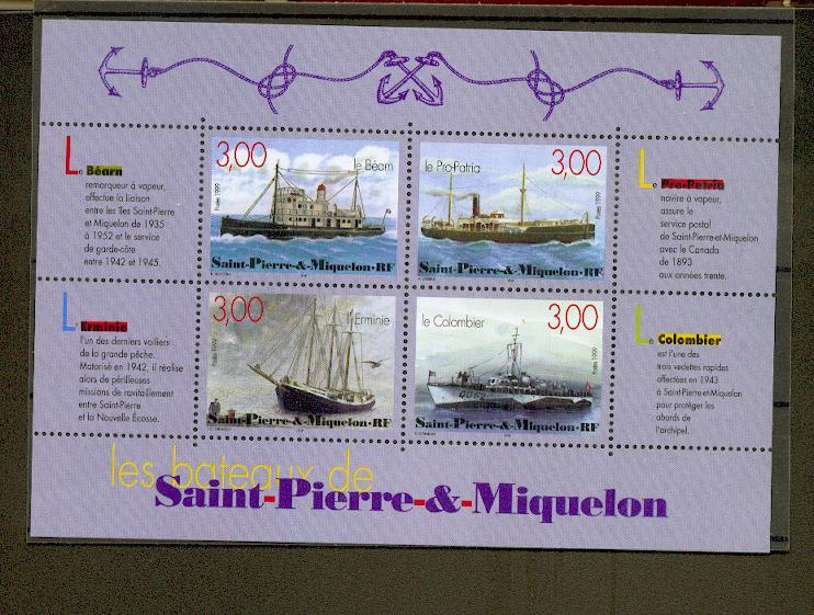 Saint Pierre et Miquelon BF  7 1/4 de cote 1999 bateaux neuf ** TB MNH sin charnela cote 9.5