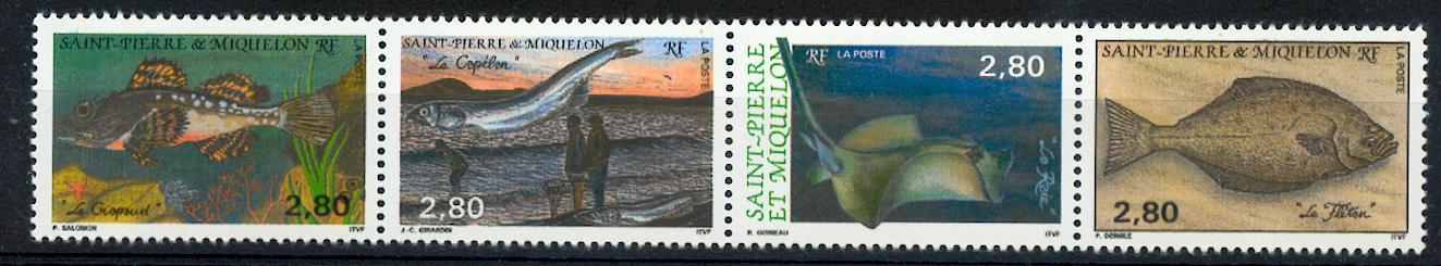 Saint Pierre et Miquelon 580 583 1993 à la faciale poisson en bande neuf TB ** MNH sin charnela