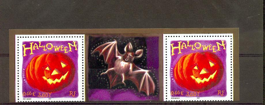 France 3428 2001 Halloween citrouille avec vignett neuf ** TB MNH sin charnela Prix de la poste 0.92