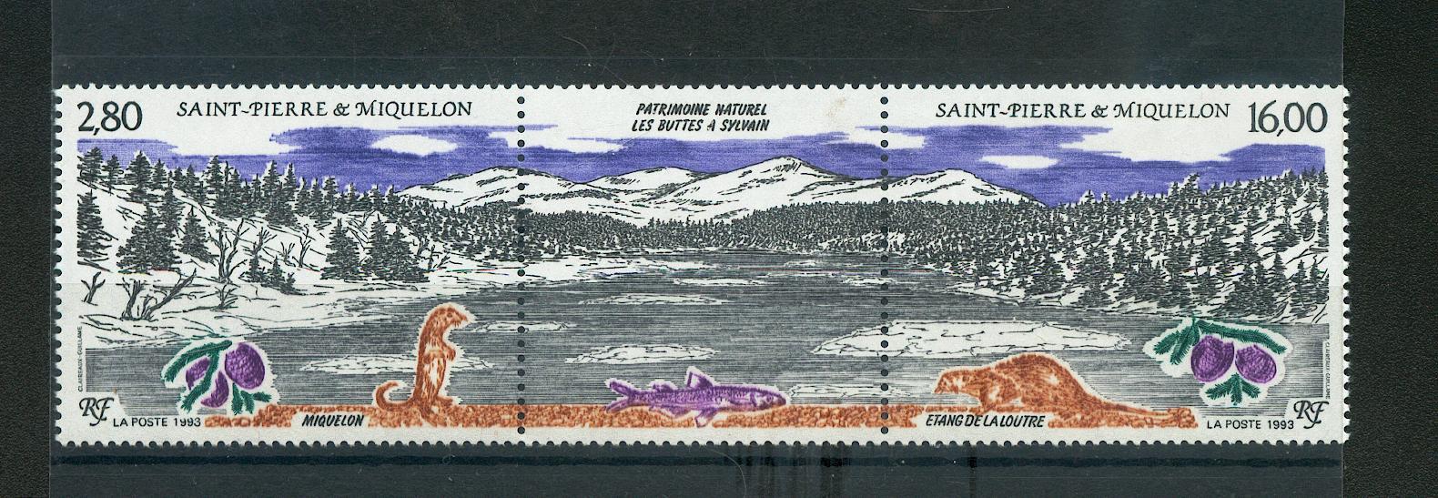 Saint Pierre et Miquelon 586 A 1993  à la faciale foret étang et faune neuf ** TB MNH sin charnela