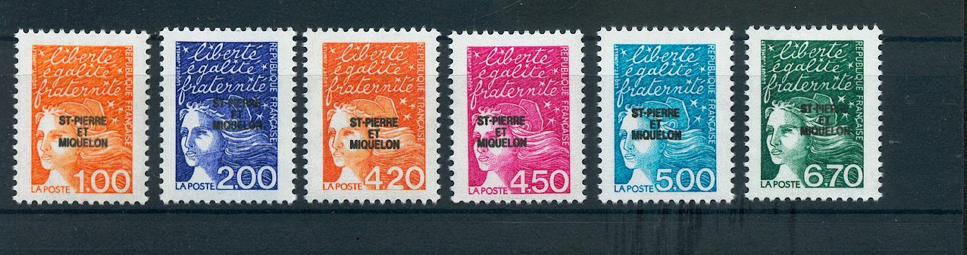 Saint Pierre et Miquelon 663 668 À LA FACIALE 1998 Marianne du 14 juill neuf ** TB MNH sin charnela
