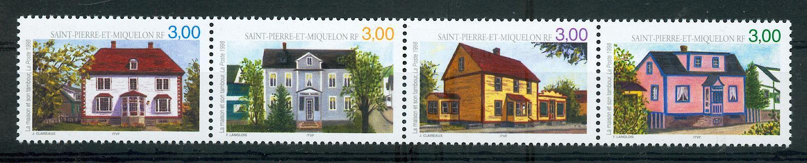 Saint Pierre et Miquelon 676 679 maisons en bande 1998 À LA FACIALE neuf ** TB MNH sin charne