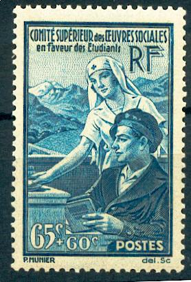 France 417 1938 1/4 de cote oeuvres sociales neuf avec trace de charnière* TB MH con charnela