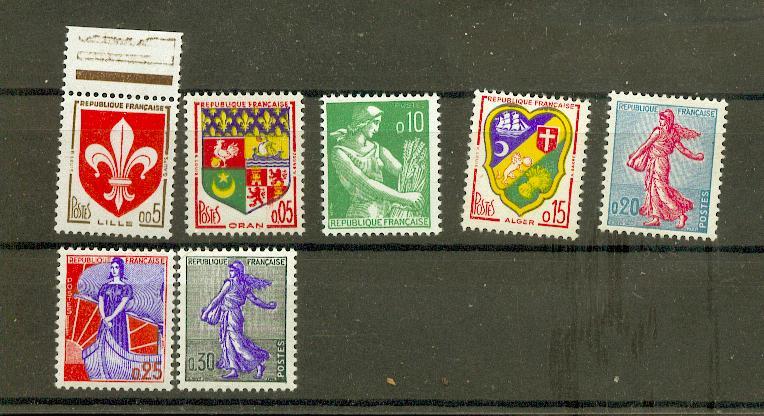 France 1230 1234A 1/4 de cote TYPES 57 59 NOUVEAUX FRANCS 1960 neuf ** TB MNH sin charnela cote 12