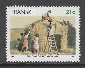 TIMBRE NEUF DU TRANSKEI - LA VIE AU TRANSKEI : CONSTRUCTION D´UNE HUTTE D´HABITATION N° Y&T 258