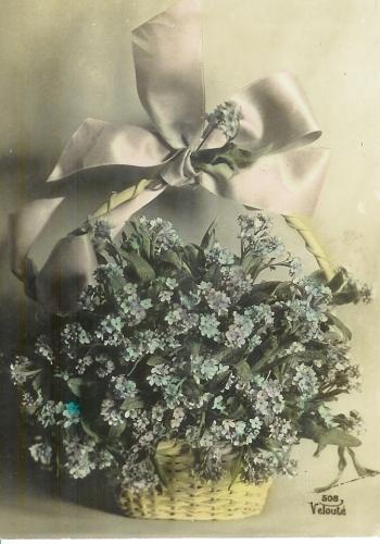 CPA amitié corbeille fleurs , voyagée