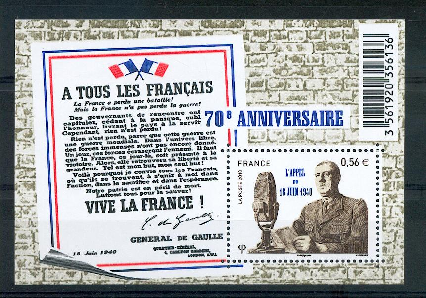 France 4493 2010 de Gaulle appel du 18 juin neuf **TB MNH sin charnela prix de la poste 0.56