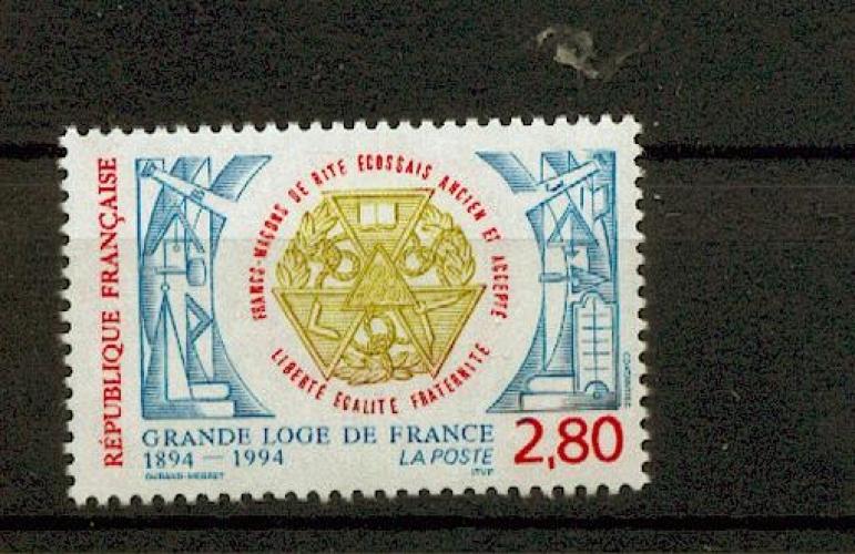 France 2912 grande loge de France 1994 neuf ** luxe MNH prix de la poste 0.42