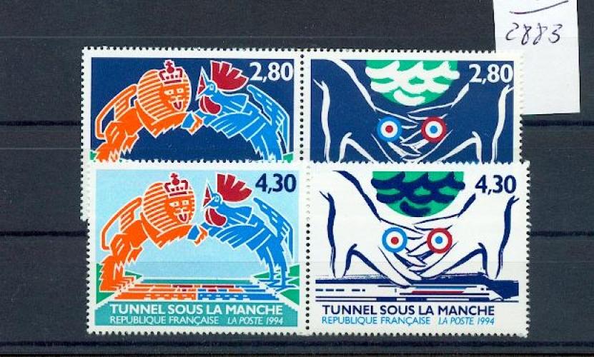 France 2880  2883 1994 tunnel sous la manche neufs ** TB MNH SIN CHARNELA  prix de la poste  2.12