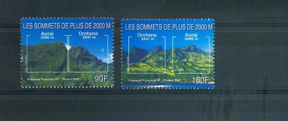 Polynésie 623 624 2000 les sommets neuf ** TB MNH SIN CHARNELA prix de la poste 2.26