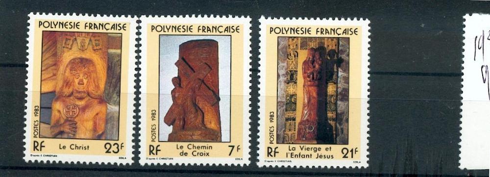 Polynésie 195 197 1/4 de cote 1983 sculptures religieuses neuf **TB MNH sin charnela cote 2.2