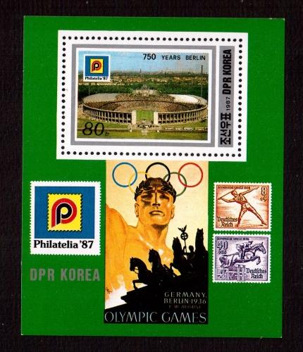 Corée du nord Année 1987  Bloc Olympic Games Berlin 1936 neuf sans charnière