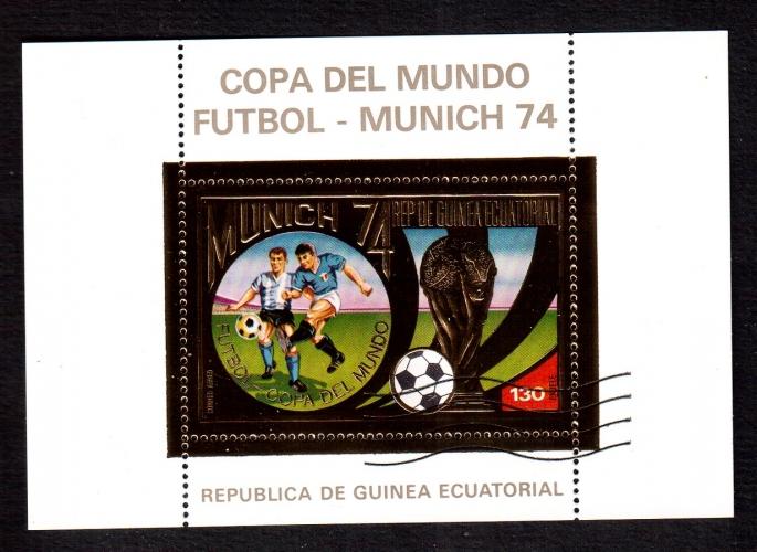 Guinée Equatoriale 1974 bloc (o) Copa del Mundo futball Munich74