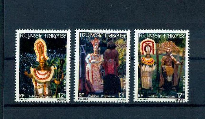 Polynésie 181 183 1/4 de cote 1982 folklore POLYNÉSIEN neufs ** LUXE MNH sin charnela cote 2.5