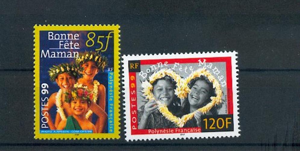 Polynésie 586 587 1999 bonne fête maman neuf ** TB MNH SIN CHARNELA prix de la poste 1.72