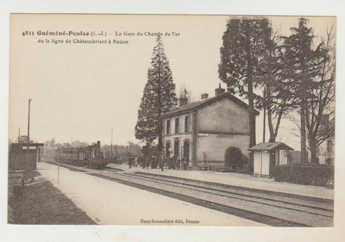 cpa 44 Guémené-Penfao la Gare du Chemin de Fer de la Ligne Chateaubriant à Redon