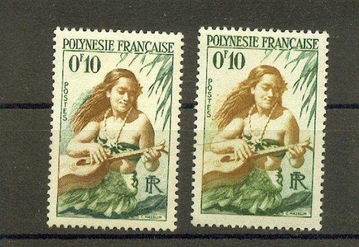 Polynésie   1 variété cheveux foncés mèches vertes et original neufs ** TB
