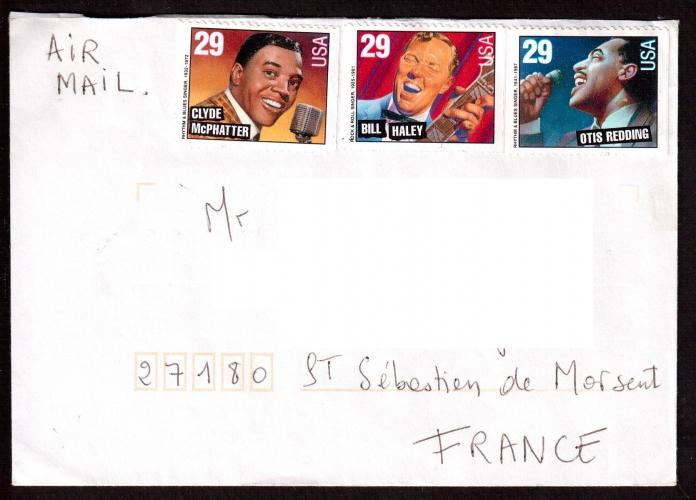 Etats-Unis Année 1993 Clyde Mc Phatter, Bill Haley et Otis Redding  sur lettre