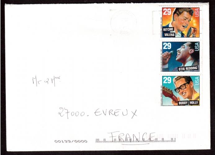 Etats-Unis Année 1993 Ritchie Valens, Otis Redding et Buddy Holly sur lettre