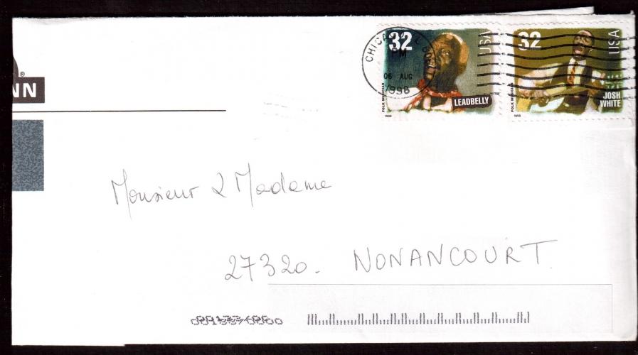 Etats-Unis Année 1998 Leadbelly et Josh White sur lettre