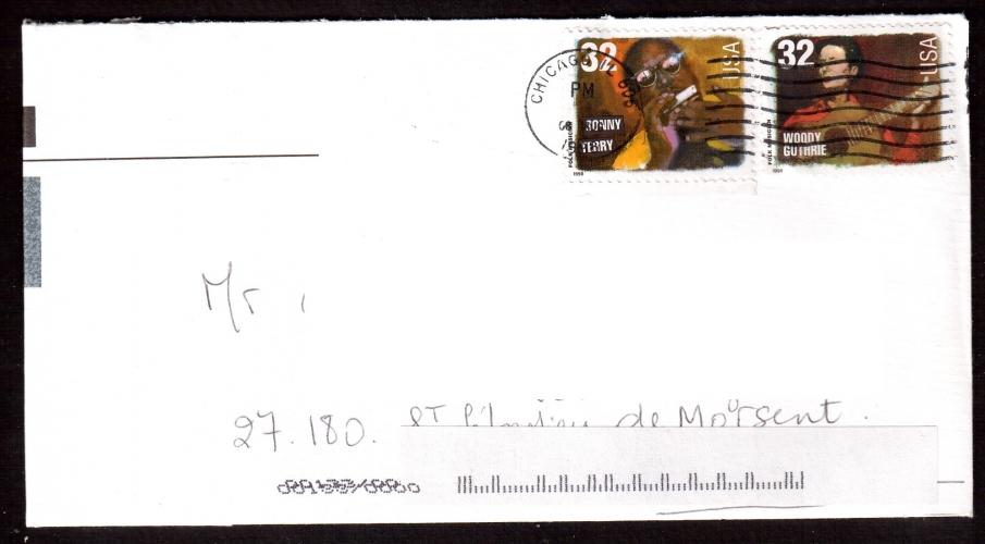 Etats-Unis Année 1998  Jonny Terry et Woody Guthrie sur lettre