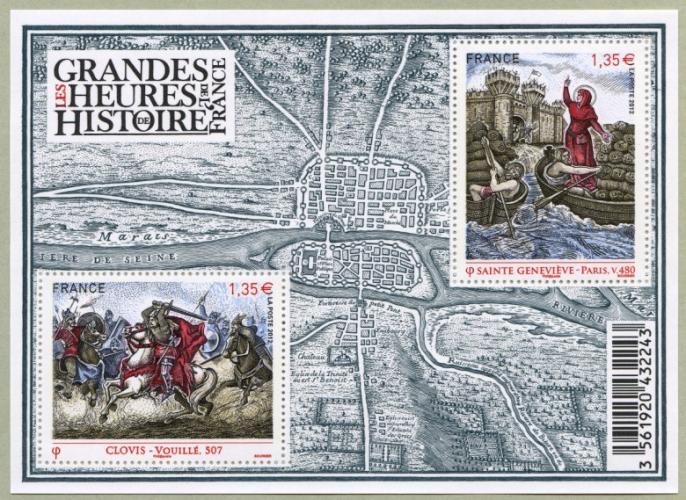 France 4704 4705 feuillet clovis sainte geneviève   neuf **TB MNH sin charnela prix de la poste 2.7
