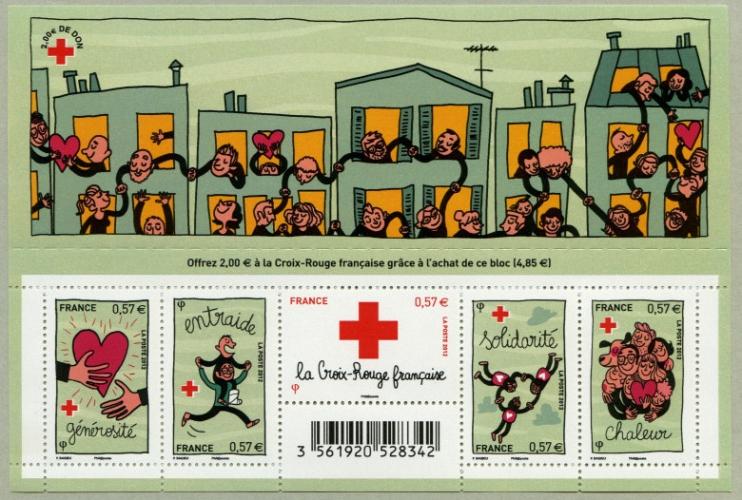 France 4699 4703 croix rouge Feuillet   neuf **TB MNH sin charnela prix de la poste 4.85