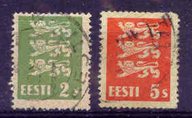 Estonie 1928 YT 98/100 Obl Blason 2 et 5s