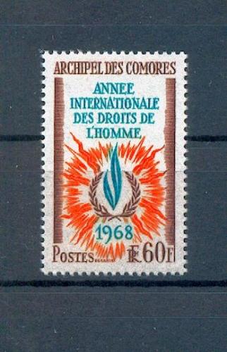 Comores 49 1968 droits de l'homme neufs avec trace de charnière * TB MH con charnela cote ** 4