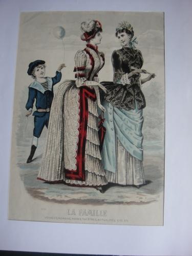 Gravure  de mode extraite du Journal : la famille 1888