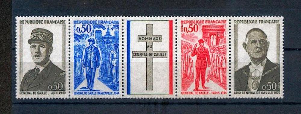 France 1698 A 1971 1/4 de cote Général De Gaulle bande neuf ** TB MNH sin charnela cote 3.5