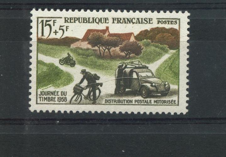 France 1151 1/4 de cote Journée du timbre distribution rurale 1958 neuf ** TB MNH cote 2.2