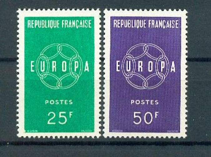 France 1218 1219 1/4 de cote Europa 1959 neuf ** TB MNH SIN CHARNELA cote 2.5