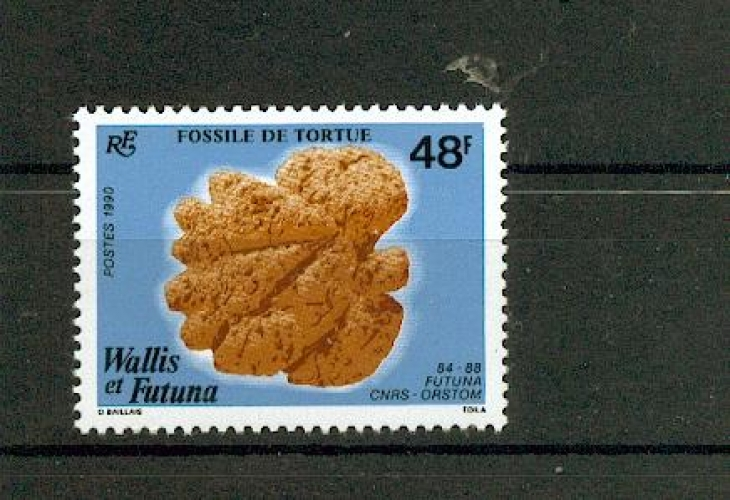 Wallis et Futuna 394 1/4 de cote 1990 fossile tortue neuf ** TB MNH sin charnela cote 2.5