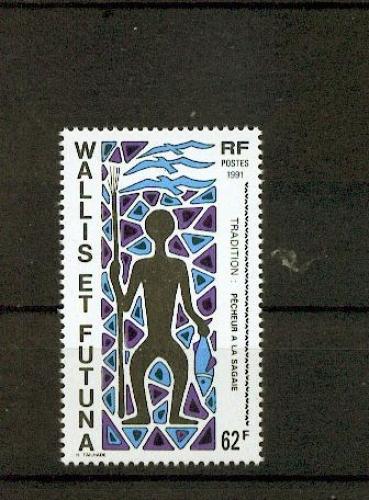 Wallis et Futuna 409 pêcheur à la sagaie 1991 neuf ** TB MNH sin charnela faciale 0.52