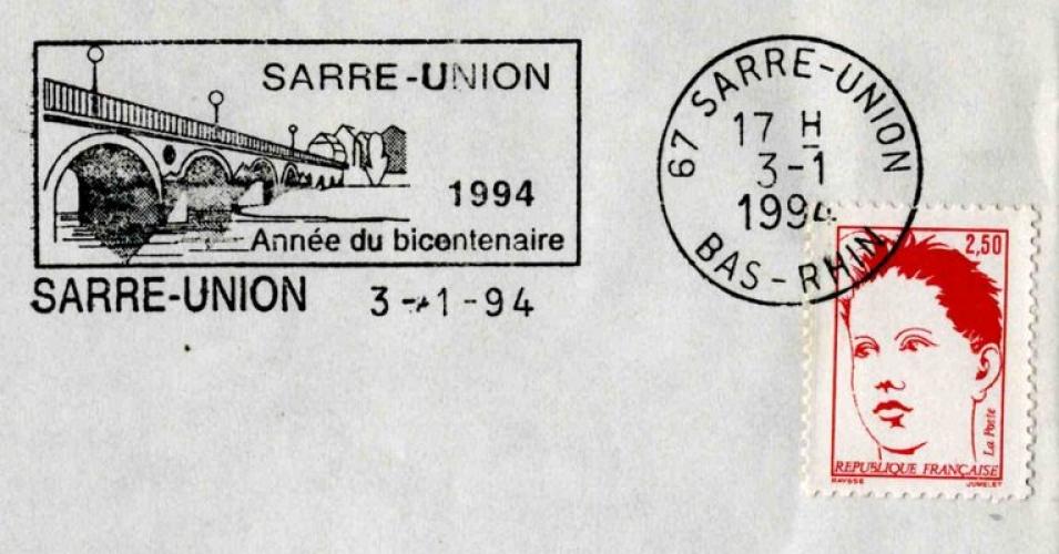 France 1994 Sarre-Union (67) 1994 Année du Bicentenaire (flamme)