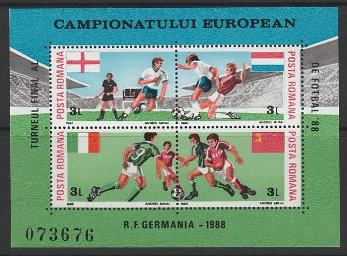 2 BLOCS NEUFS DE ROUMANIE - CHAMPIONNAT D'EUROPE DE FOOTBALL EN R.F.A. N° Y&T 195/196