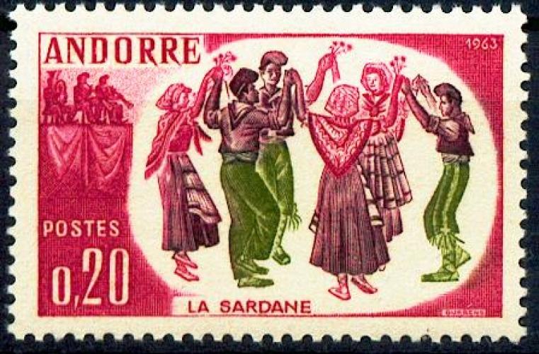 Andorre 166 1/4 de cote danse Sardane neuf **TB MNH sin charnela cote 5.5 euros