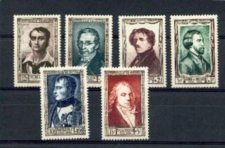 France  891 896 1/4 de cote Hommes célèbres du XIX 1951 neuf ** TB MNH sin charnela cote 60