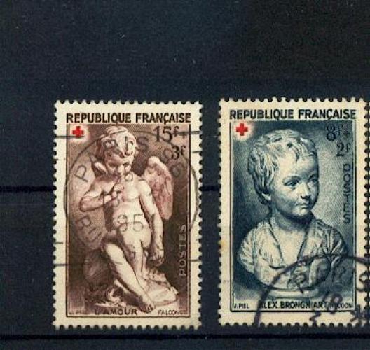 France  876 877 croix rouge oeuvres de houdon et falco oblitéré used cachet ronds paris cote 5.75